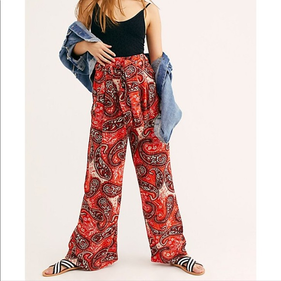 Free People Pants - Free people wide leg trousers in tiger lily combo